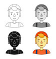 construction worker icon in cartoon style isolated vector image