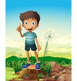 A stump with a young man standing vector image vector image