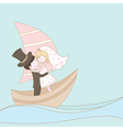 Wedding couple on the ship vector image