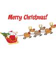 Santa with reindeer cartoon vector image