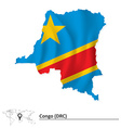 Map of Democratic Republic of the Congo with flag vector image vector image