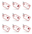 white and red christmas gift tags and labels set vector image
