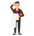 Man holding long bill vector image