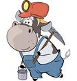 A little cow miner Cartoon vector image