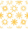 funny yellow summer sun seamless pattern vector image