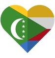 Comoros flat heart flag vector image
