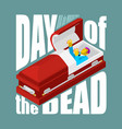 day of the dead open coffin departed zombie in vector image
