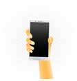 white smartphone in hand vector image vector image