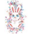 rabbit with butterflies vector image vector image