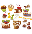 Set of cakes and other sweet food vector image vector image