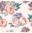 Seamless succulent and peony roses vector image