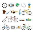 Bicycle bike flat icons set vector image