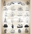 design set with vintage ships vector image