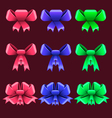 Set with colorful bows vector image