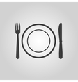 The Plate dish with fork and knife icon vector image