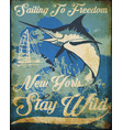 vintage sailing poster tee graphic design vector image