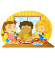 three kids having meal on table vector image