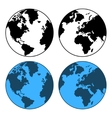 Earth Map Set Isolated on White vector image vector image