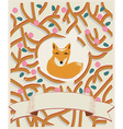 Little fox in a forest card design vector image
