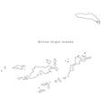 Black White British Virgin Islands Outline Map vector image vector image