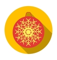 Christmas bauble with snowflake icon in flat style vector image