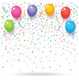 colorful confetti with balloons and ribbons vector image