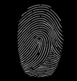 fingerprint isolated on a black background vector image