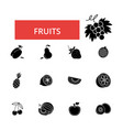fruits thin line icons linear flat vector image