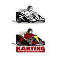 kart racing winner logo on a white vector image