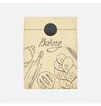 Kraft paper takeaway bag with Sketched baking vector image