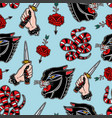 seamless pattern with knife snake black panther vector image