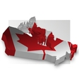 Three dimensional map of Canada in flag colors vector image