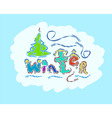 winter text hand drawn creative seasonal card vector image