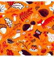 autumn season nature plants seamless pattern vector image vector image