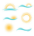 sun and sea logo set vector image vector image