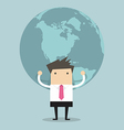 Businessman holding big globe vector image