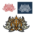 Indian beige orange and gray paisley flower vector image