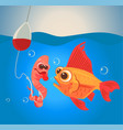 fish and worm characters fishing vector image