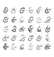 Hand drawn ampersands union words for invitation vector image