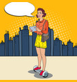 pop art woman riding gyroscooter in the city vector image