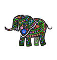 silhouette of elephant with ethnic pattern vector image