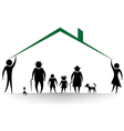 family roof Silhouettes of woman man children f vector image vector image