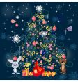 Christmas tree with toys vector image vector image