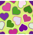 Seamless pattern with colorful hearts vector image
