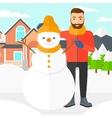 Man posing near snowman vector image