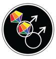 Gay man wedding symbols vector image