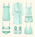 set of womens homewear sleepwear and underwear vector image