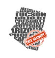 word cloud map of arizona state vector image