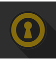 yellow round button with black keyhole icon vector image