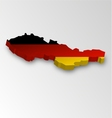 Three dimensional map of Germany in flag colors vector image vector image